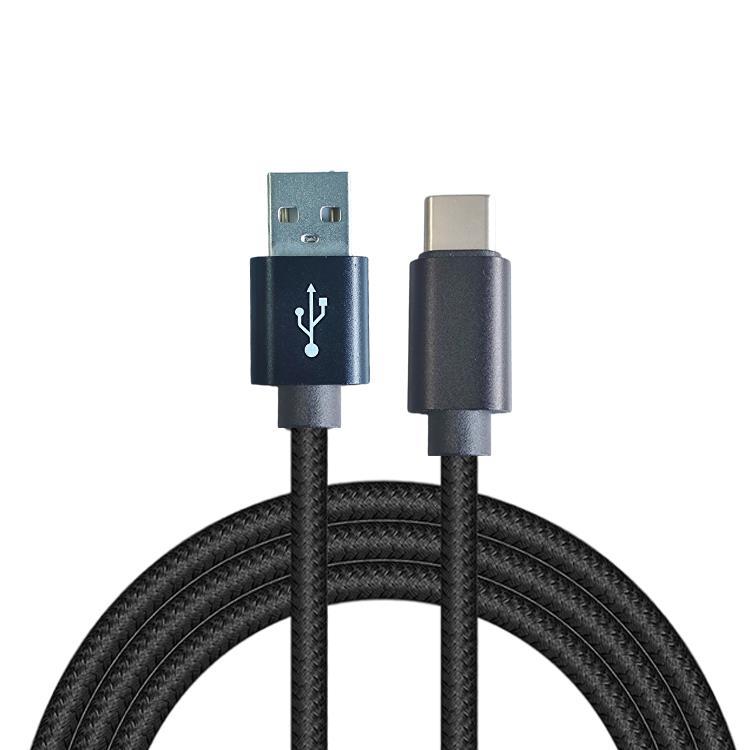 type-c黑色锌壳编织充电线定制